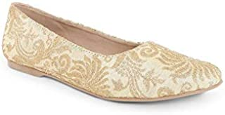 KANVAS Gold Ethnic Ballerinas for Women