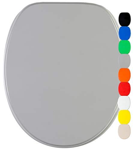 WC Sitz, viele einfarbige WC Sitze zur Auswahl, hochwertige und stabile Qualität aus Holz (Grau)