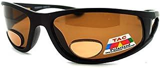 Mens Wrap Around Sport Sunglasses Polarized Plus Bifocal Reading Lens Black (black (brown), 2.25)