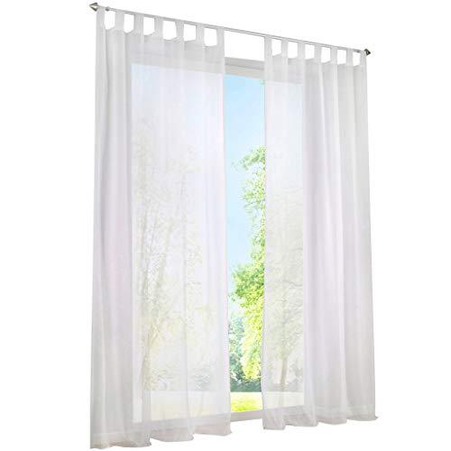 ESLIR Gardinen mit Schlaufen Vorhänge Fensterschal Transparent Schlaufenschal Voile Weiß BxH 140x225cm 1 Stück