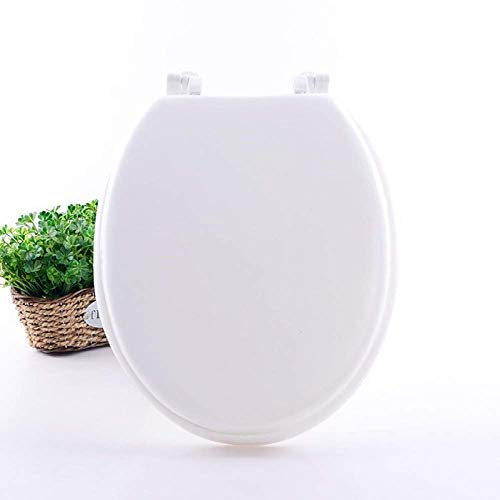 Toilettensitze Soft Close, Schaumstoff gepolsterter erhöhter Toilettensitz, weicher, bequemer, gepolsterter Sitz für ältere Menschen, Behinderte, weniger Biegung, einfacheres Sitzen, Weiß-41