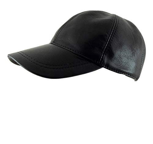 Adjustable Genuine Leather Baseball Cap, Premium Quality Material, Handcrafted, Black