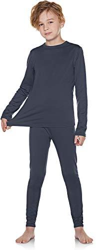 TSLA Kid's & Boy's and Girl's Thermal Underwear Set, Soft Fleece Lined Long Johns, Winter Base Layer Top & Bottom, Boy Thermal Set(khs300) - Dark Grey, Small