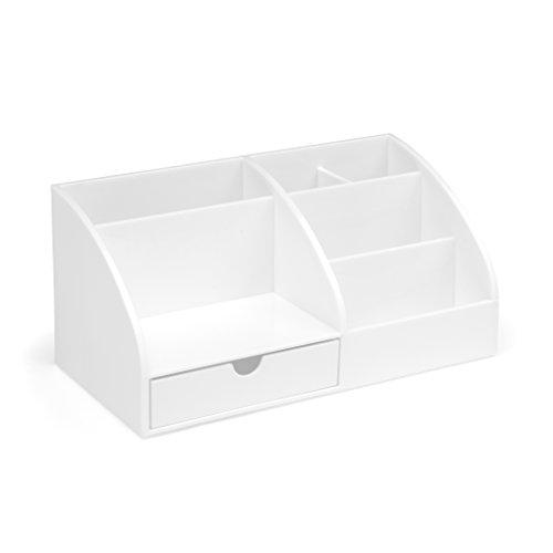 Osco Organizador de escritorio de acrílico brillante, color blanco, AD01-OW