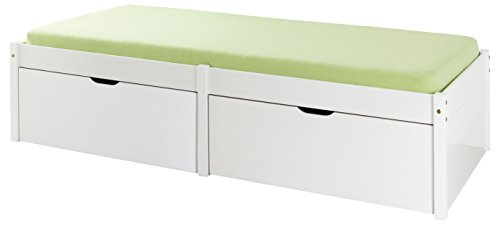 Inter Link Bett Bed Kinderbett Funktionsbett Einzelbett Stauraumbett nachhaltigeres Massivholz Weiss lackiert