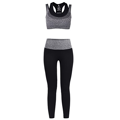 Vbiger Deportes Sostén Yoga Pantalones Deporte Trajes Gimnasio Conjuntos para Mujer