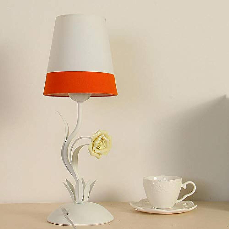 Tuch Tischlampe Schlafzimmer warme Nachttischlampe mediterranen Stil Gartenlampe Kinderzimmerlampe Prinzessin Lampe, Orange wei Dimmschalter