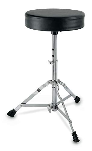 XDrum Schlagzeughocker Semi (Höhenverstellbar 50-64cm, drei Standbeine mit Gummifüßen, zusammenklappbar)