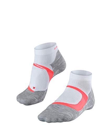 FALKE Damen, Laufsocken RU4 Cool Short Funktionsfaser, 1 er Pack, Weiß (White-Neon Red 2028), Größe: 37-38