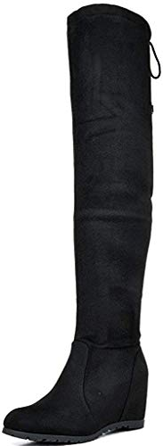 DREAM PAIRS Women's Leggy Black Faux Suede Over The Knee Thigh High Boots - 11 M US