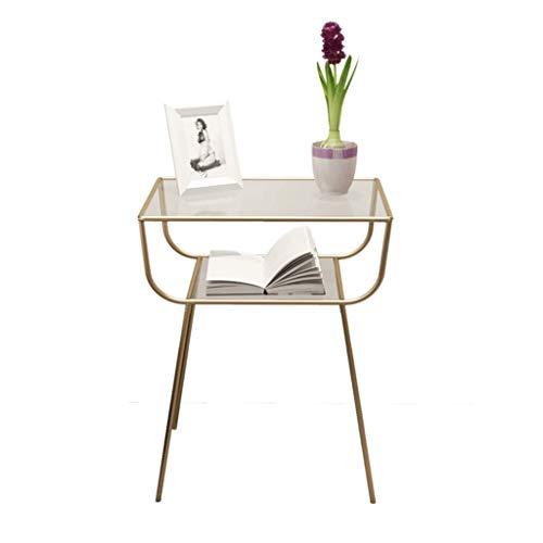 Métal et Verre Petite Table Basse Table de Chevet Table d'appoint Support de Fleurs Rack Multifonctions Salon Chambre Canapé