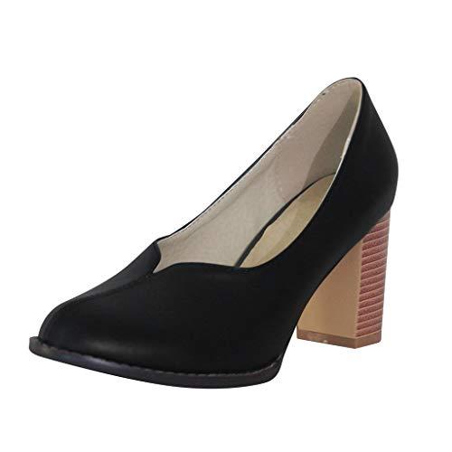 High Heeled Pumps für Damen/Dorical Frauen Pump Geschlossene Damenschuhe mit Blockabsatz Pointed Toe Retro Bequem Sandalen Übergröße Ausverkauf(Schwarz,39 EU)