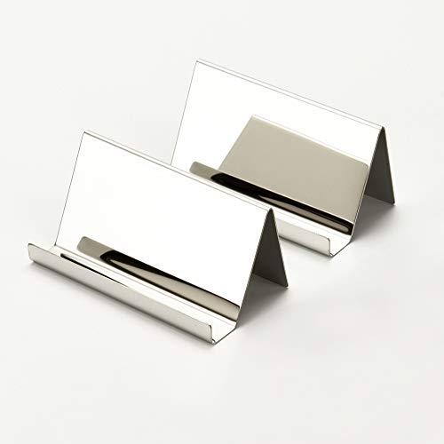 YOSCO Visitenkartenhalter aus Edelstahl für Schreibtisch, Büro, Visitenkartenhalter, Sammelorganizer für Namenskarte, Visitenkartenanzeige, 2 Stück (Silber)