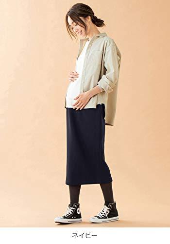 ANGELIEBEエンジェリーベマタニティ産前産後対応極暖裏シャギーあったかタイトスカート妊婦服シンプル裏起毛M~Lネイビー29595202