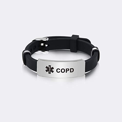 Xlin Pulsera De Muñequera Deportiva De Confort De Silicona Personalizada Pulsera De Alerta Médica para Hombres para Hombres (Color : COPD)