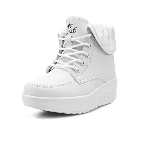 Zapatillas Casual para Mujer Zapatillas de Deporte Gimnasio Zapatos Cuña Cómodos Sneakers para Trotar Compras Blanco Pandilla alta41