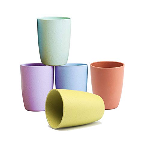 Choary Wheat Straw Cup EcoFriendly Unbreakable Reusable Drinking Tumbler Biodegradable Healthy Tumbler Set 5Multicolor for Adult12 OZ Dishwasher Safe Multi