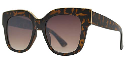 Large Classic Square Sunglasses for Women with Flat Lens UV400 Protection (Tortoise + Brown Gradient Lens)