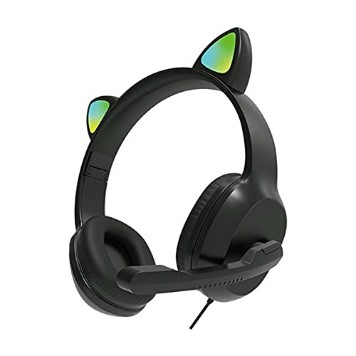 AnXiongStore Cute Cat Ears Auriculares para Juegos con Cable Auriculares con micrófono de luz Colorida LED Kid Girl Stereo Music Casco Auriculares para teléfono