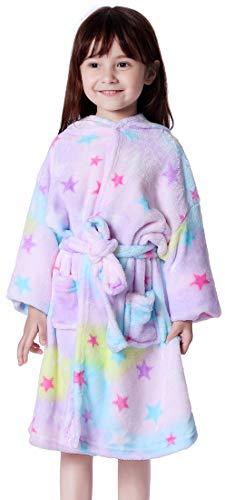 OLIPHEE Kinder Bademantel Einhorn Kostüme Winter Flanell Morgenmantel mit Kapuze für Mädchen und Jungen Lila Sterne 170