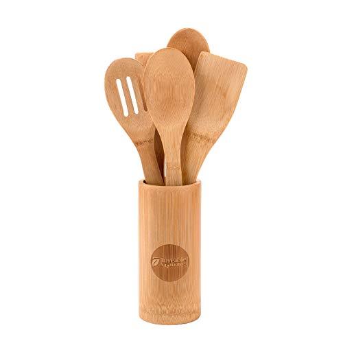 Invisible Footprints Ustensiles de cuisine en bambou – Lot de 6 accessoires de cuisine en bois – Cuillère et spatule 30,5 cm avec support – Passe au lave-vaisselle – Produit respectueux de la planète