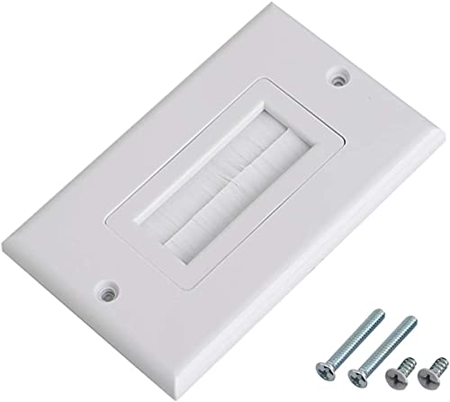 1pc Brush Wall Plate Multi-Function Single Port Cover Outlet Wall Mount Multimedia Panel White