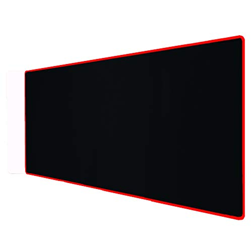 Large Extended Gaming Mouse Pad with Stitched Edges, (35.4X15.7In) Durable Non-Slip Natural Rubber Base, Waterproof Computer Keyboard Pad Mat for Esports Pros/Gamer/Desktop/Office/Home