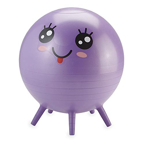 Gaiam Kids Stay-N-Play Children's Balance Ball, Flexible School Chair Active Classroom Desk Alternative Seating, Built-In Stay-Put Soft Stability Legs, Includes Air Pump, 45cm, Purple Miss Sunshine