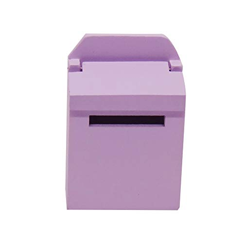 TOYHEART Dolls House Accessories, 1/12 Wooden Solid Color Miniature Mailbox Dollhouse Kids Toy Fairy Garden Decor for Kids Purple