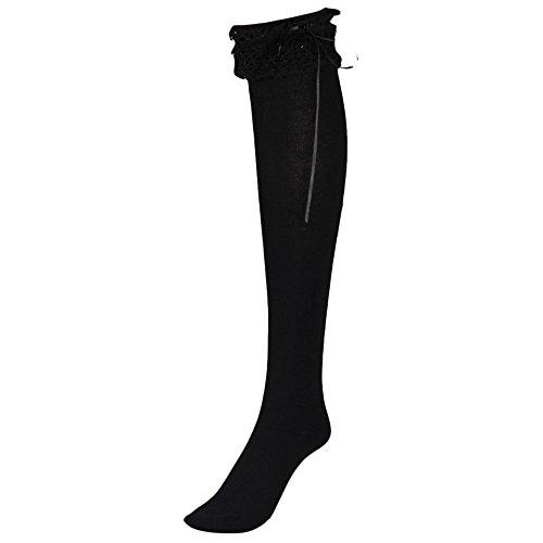 NEW! Somerl kuschelsocken strümpfe Gestreifte Kniestrümpfe Damen über Knie-Lange Overknee Überknie Strümpfe cosplay Kostüm(Black,Free)