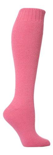 David James 1 Paar Damen Wolle reich Waden Gummistiefel Socken, Größe 37-40 (Heiß Rosa)