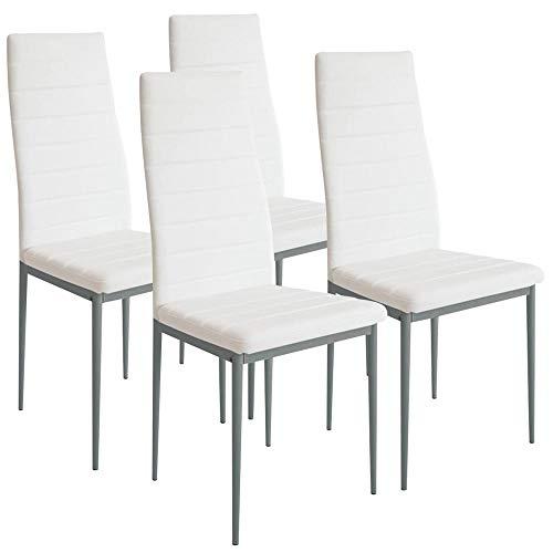 BAKAJI Set 4 Sedie Moderne Sala da Pranzo Salotto Cucina Seduta Imbottita Ecopelle 4X Sedie in Promo Struttura Acciaio (Bianco)
