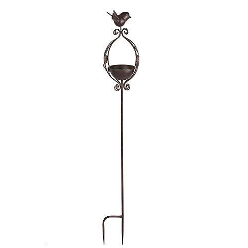linoows Rustikale Vogeltränke zum Stecken, Antikes Vogelbad, Vogel Futterplatz, Eisen