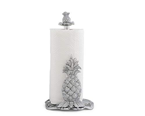 Arthur Court Pineapple Countertop Decorative Paper Towel Holder Aluminum Metal 14.5 inch Standing Tall