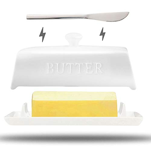 2021 Magnetic Porcelain Butter Dish with Lid and Knife Magnetic Butter Keeper Ceramic Butter Keeper New Bone China Butter Dish with Handle Cover Design 1 Knife Easy Scoop Dishwasher Safe