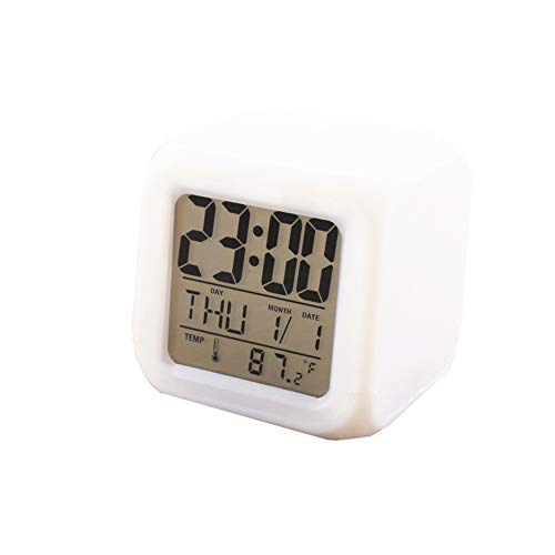 Reloj Despertador Digital Relojes LED Reloj Despertador para Niños Reloj De Dormitorio Reloj De Escritorio Reloj De Cabecera Calendario Reloj Digital con Temperatura para