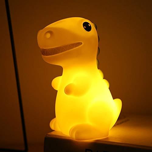 MMPY Dinosaurio luz de la Noche 3 PCS Eco-amigable Dinosaurio LED de Silicona de Colores de luz Suave electrónico casero luz de la Noche (Emitting Color : Yellow)