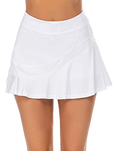 Ekouaer Sport Skirt Pleated Soft Tennis Golf Skorts with Pocket &Headphone Cable Hole Cute Activewear White