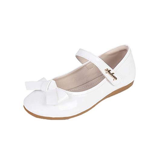 Zapatos Mary Jane para niñas Zapatos Planos de Cuero con Lazo de Punta Redonda de Color sólido Zapatos de Princesa de Fiesta Informales Antideslizantes con Suela Suave para niños