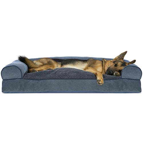 Furhaven Pet Dog Bed - Faux Fleece and Chenille Soft Woven Pillow Cushion Traditional Sofa-Style Living Room Couch Pet Bed with Removable Cover for Dogs and Cats, Orion Blue, Jumbo