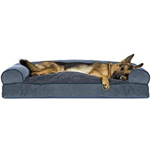 Furhaven Pet Dog Bed – Faux Fleece and Chenille Soft Woven Pillow Cushion Traditional Sofa-Style Living Room Couch Pet Bed with Removable Cover for Dogs and Cats, Orion Blue, Jumbo