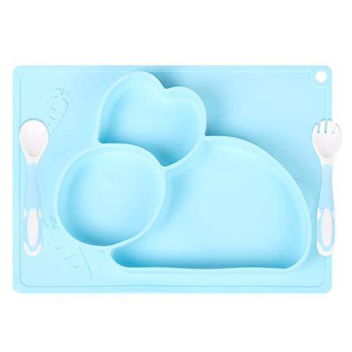 Vicloon Baby Teller, Baby Tischset Hase Rutschfest Silikon mit Biegsamen Löffel und Gabel, BPA-Freie, Kann in der Spülmaschine und Mikrowellem, Kinderteller für Kleinkinder und Kinder(Blau)