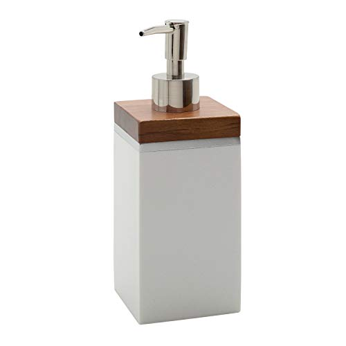 Zenna Home White with Maple Trim Brentwood Lotion or Soap Dispenser