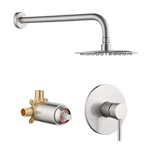 KES Rain Shower Head with Shower Faucet Set Complete Pressure Balance...