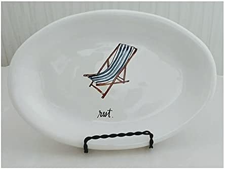 Rae Dunn Artisan Be super welcome Collection Rest Blue Plat Oval New popularity Icon Chair Beach