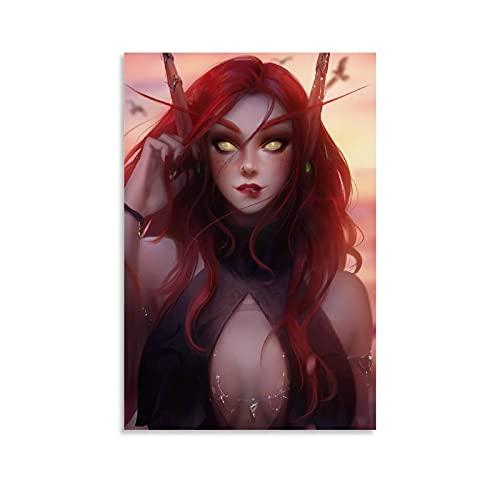 GHJKT Poster HD - Elfe du sang, World of Warcraft - Impression sur toile - Décoration murale moderne pour chambre à coucher - 30 x 45 cm