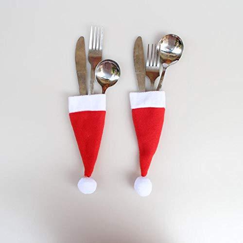 UDancin Geschirr Messer Gabel Set Aufbewahrungswerkzeug Weihnachtsdekoration Lieferungen Weihnachtsmütze Flaschenaufsatz Tableware Knife Fork Set Storage Tool Kreatives Weihnachten