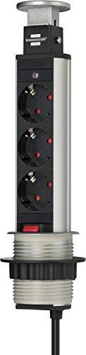 Brennenstuhl 1396200003 Regleta de Enchufe de Mesa, 250 V, Aluminio y Negro