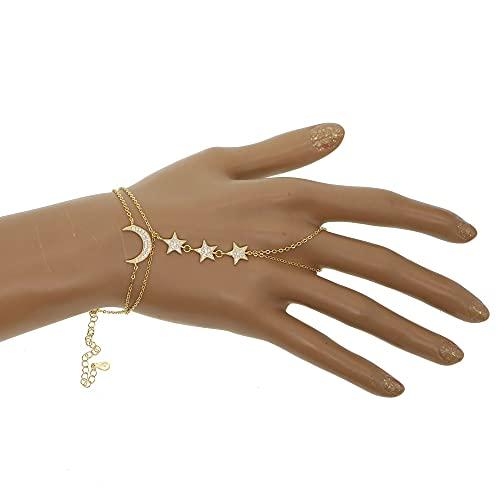 zhengyang Pulsera de perlas con colgante de estrella de la luna de doble cadena pulsera de esclavo anillo pulsera de perlas (color de metal: dorado)