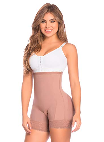 Shapewear from Fajas Diseño D´Prada 11197 Women´s High- Waist Control Panty Body Shaper (Mocca, XS)